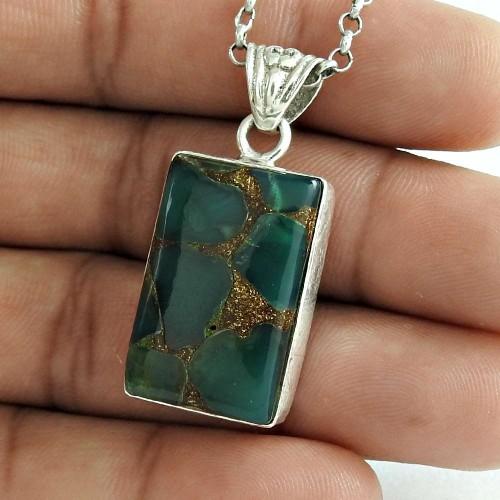Delicate Light 925 Sterling Silver Mystic Jasper Gemstone Pendant