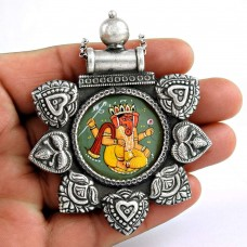 Antique Look Glass Painting Pendant Oxidised 925 Sterling Silver Jewelry