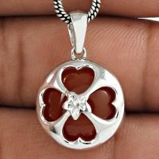 Scrumptious 925 Sterling Silver Carnelian Gemstone Unique Pendant