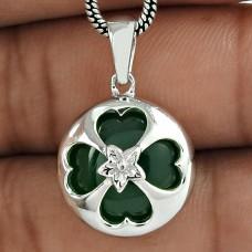 Antique Look 925 Sterling Silver Green Onyx Gemstone Pendant