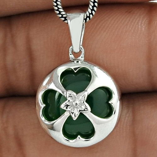 Antique Look 925 Sterling Silver Green Onyx Gemstone Pendant