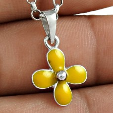 Women Fashion 925 Sterling Silver Inlay Flower Pendant