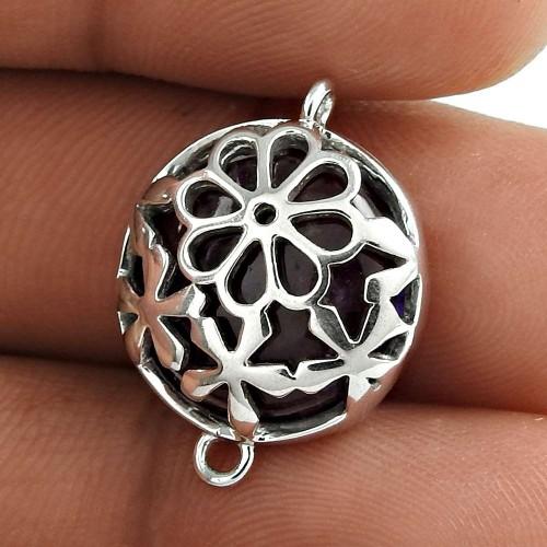 Ethnic Design 925 Sterling Silver Amethyst Gemstone Connector Pendant