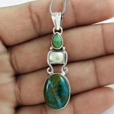 Pretty 925 Sterling Silver Chrysocolla Pearl Emerald Gemstone Pendant Jewelry