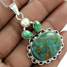 Scenic 925 Sterling Silver Chrysocolla Pearl Emerald Gemstone Pendant Jewelry