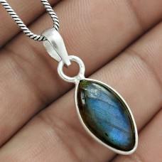 Dainty 925 Sterling Silver Labradorite Gemstone Charm Pendant Jewellery