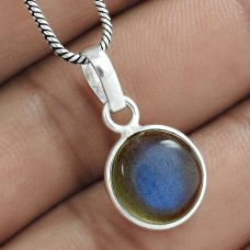 Scenic 925 Sterling Silver Labradorite Gemstone Charm Pendant Ethnic Jewellery