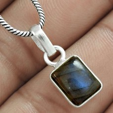 Pretty 925 Sterling Silver Labradorite Gemstone Charm Pendant Jewellery Online
