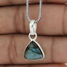 Perfect 925 Sterling Silver Labradorite Gemstone Pendant Jewelry