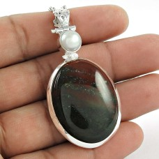 925 Sterling Silver Jewellery Charming Bloodstone, Pearl Gemstone Pendant Großhandel