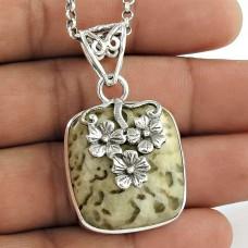 925 Sterling Silver Jewellery High Polish Peanut Wood Gemstone Pendant Al por mayor