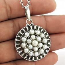 925 Sterling Silver Vintage Jewellery Ethnic Pearl Pendant Proveedor