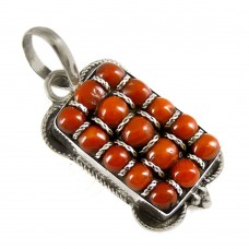 Modern Style !! 925 Sterling Silver Coral Pendant