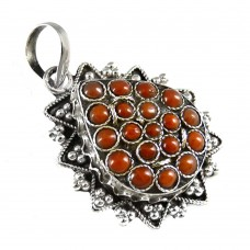 Fine !! 925 Sterling Silver Coral Pendant
