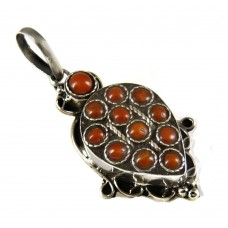 New Faceted ! 925 Sterling Silver Coral Pendant