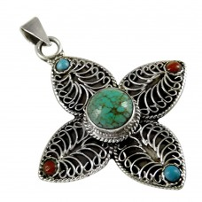 New Design Bohemian 925 Sterling Silver Tibet Coral and Turquoise Pendant