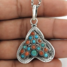 Stunning !! 925 Sterling Silver Coral & Turquoise Pendant