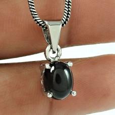 Fashion Black Star Gemstone 925 Sterling Silver Antique Pendant Jewellery