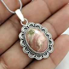 Stylish 925 Sterling Silver Rhodochrosite Gemstone Pendant Handmade Jewelry C68