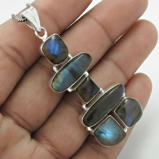 Labradorite Gemstone Inukshuk Pendant 925 Sterling Silver Jewelry A1