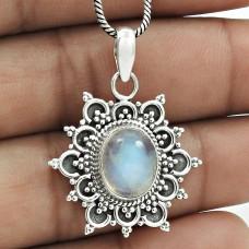 Latest Trend 925 Sterling Silver Rainbow Moonstone Gemstone Pendant Vintage Jewelry C74
