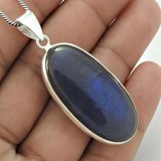 Dainty 925 Sterling Silver Labradorite Gemstone Pendant Vintage Jewelry C79