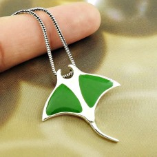 Green Inlay Butterfly Pendant 925 Solid Sterling Silver HANDMADE Indian Jewelry MM57