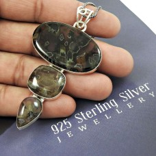 Natural TURKISH AGATE HANDMADE Jewelry 925 Solid Sterling Silver Pendant PP57