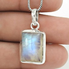 HANDMADE 925 Solid Sterling Silver Natural RAINBOW MOONSTONE Pendant JJ60