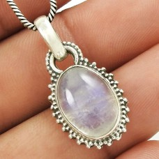 Natural RAINBOW MOONSTONE HANDMADE 925 Solid Sterling Silver Pendant LL62