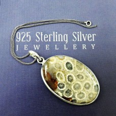 HANDMADE 925 Solid Sterling Silver Jewelry Natural FOSSIL CORAL Pendant DF4