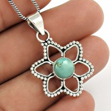 Natural TURQUOISE Pendant 925 Solid Sterling Silver HANDMADE Jewelry DD92