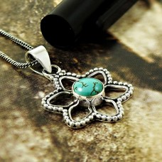 HANDMADE 925 Solid Sterling Silver Jewelry Natural TURQUOISE Pendant PP92