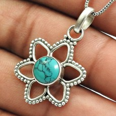 Turquoise Gemstone Pendant 925 Sterling Silver Indian Jewelry T9
