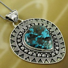 Natural TURQUOISE HANDMADE Jewelry 925 Solid Sterling Silver Pendant RR93