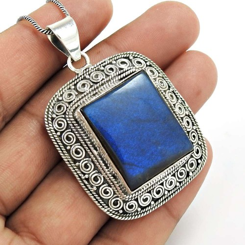 HANDMADE 925 Solid Sterling Silver Jewelry Natural LABRADORITE Pendant HH96