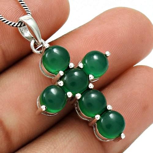 Green Onyx Gemstone Cross Pendant 925 Sterling Silver Ethnic Jewelry RF10