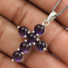 Amethyst Gemstone Cross Pendant 925 Sterling Silver Traditional Jewelry YH10