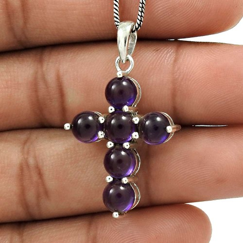 Amethyst Gemstone Cross Pendant 925 Sterling Silver Traditional Jewelry WS11