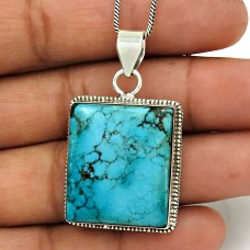 Turquoise Gemstone Pendant 925 Sterling Silver Women Gift Jewelry ED11