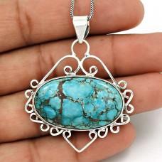 Turquoise Gemstone Pendant 925 Sterling Silver Ethnic Jewelry AZ14