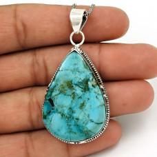 Turquoise Gemstone Pendant 925 Sterling Silver Ethnic Jewelry QA16
