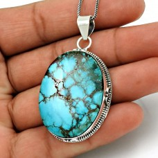 Turquoise Gemstone Pendant 925 Sterling Silver Vintage Jewelry WS16