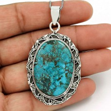 Turquoise Gemstone Pendant 925 Sterling Silver Tribal Jewelry UJ16