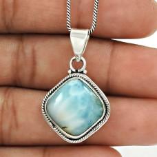 Larimar Gemstone Pendant 925 Sterling Silver Ethnic Jewelry PL18