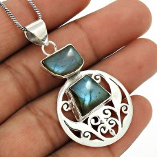 Labradorite Gemstone Pendant 925 Sterling Silver Ethnic Jewelry WS21