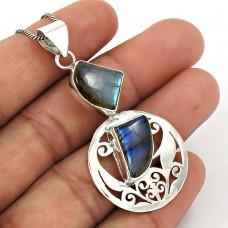 Labradorite Gemstone Pendant 925 Sterling Silver Women Gift Jewelry TG21