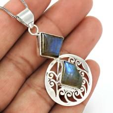 Labradorite Gemstone Pendant 925 Sterling Silver Ethnic Jewelry AZ21