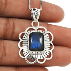 Labradorite Gemstone Pendant 925 Sterling Silver Vintage Jewelry YH22