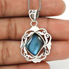 Labradorite Gemstone Pendant 925 Sterling Silver Vintage Jewelry WS23